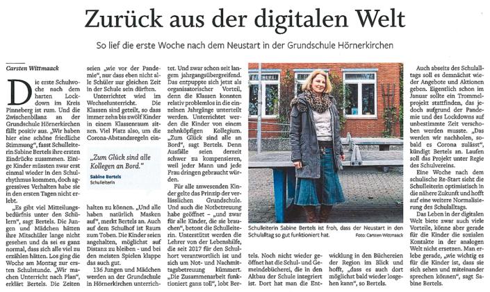 Barmstedter Zeitung vom 06.03.2021: Zurück aus der digitalen Welt über die erste Woche nach dem Neustart an der Grundschule Hörnerkirchen