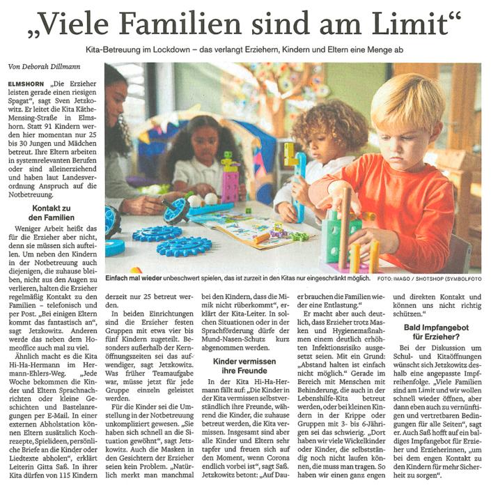 Elmshorner Nachrichten vom 10.2.2021: Viele Familien sind am Limit