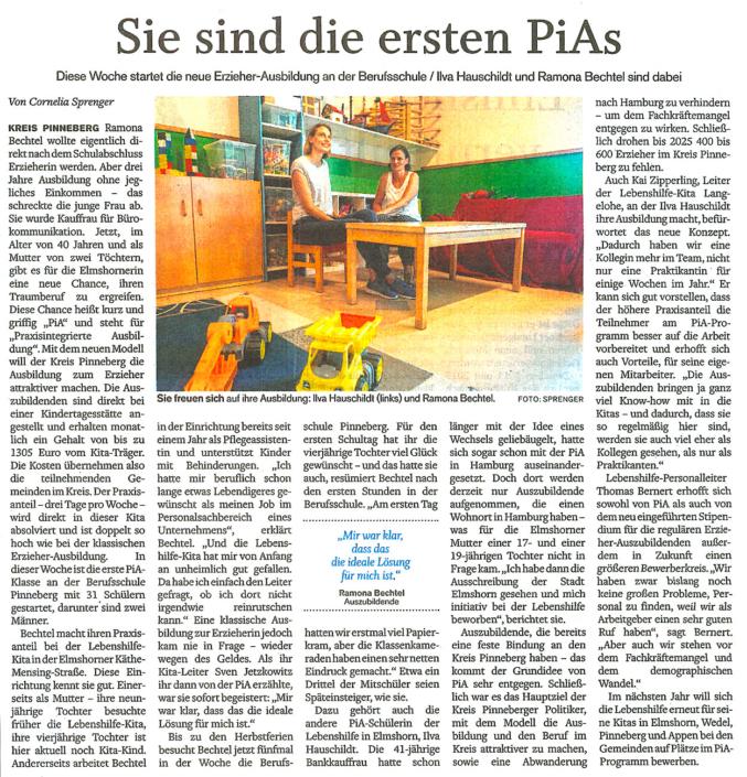 Elmshorner Nachrichten vom 15.8.2020: Sie sind die ersten PiAs