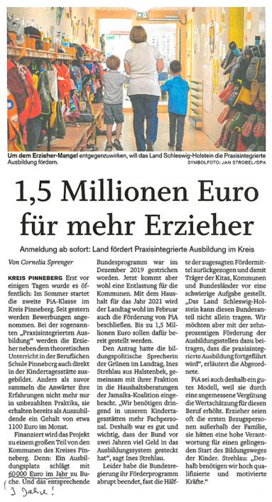Elmshorner Nachrichten vom 2.2.2021: 1.5 Millionen Euro für mehr Erzieher