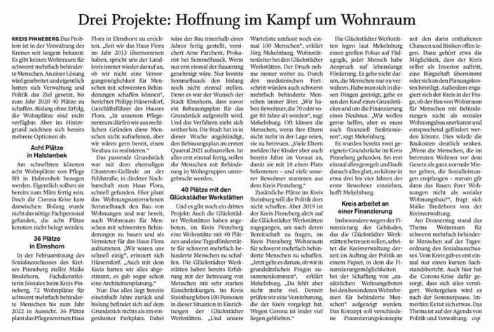 """Pinneberger Tageblatt. vom 8.6.2020: """"Drei Projekte: Hoffnung im Kamp um Wohnraum"""""""