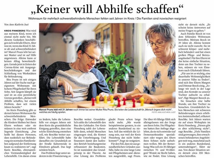 """Pinneberger Tageblatt vom 8.6.2020: """"Keiner will Abhilfe schaffen"""", über fehlenden Wohnraum für Schwerstbehinderte Menschen im Kreis Pinneberg"""