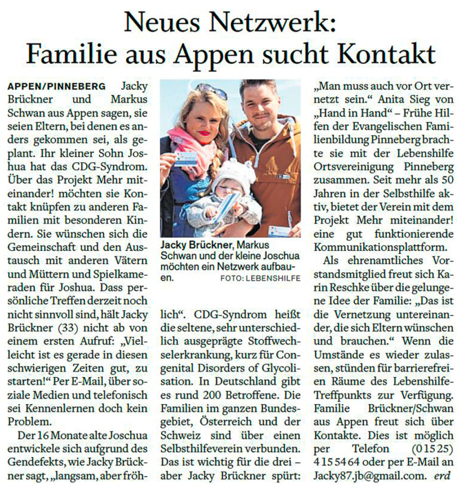 """Pinneberger Tageblatt vom 11.06.2020: """"Neues Netzwerk: Familie aus Alpen sucht Kontakt"""""""