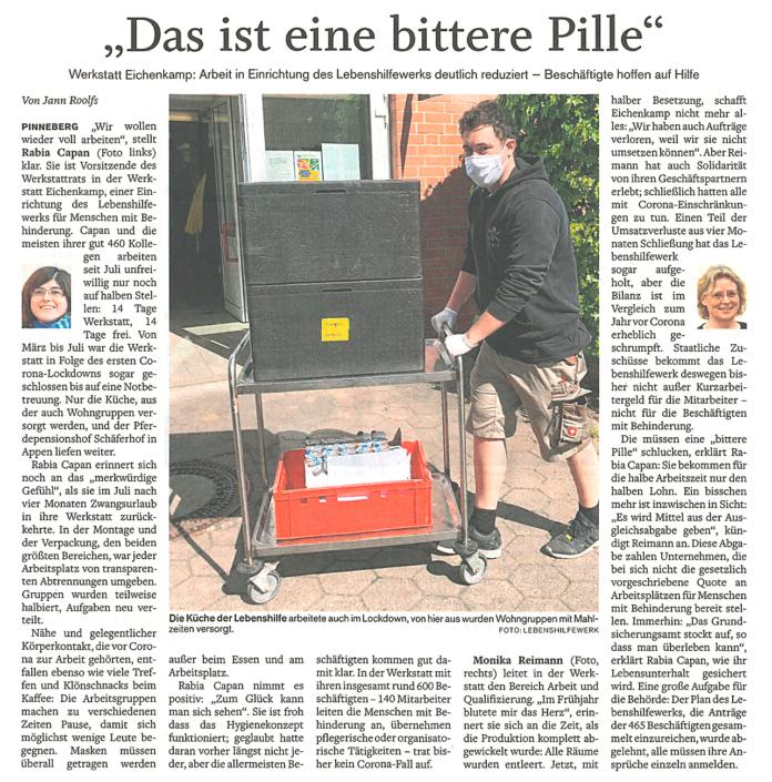 """Pinneberger Tageblatt vom 12.1.2021: """"Das ist eine bittere Pille"""" Arbeit im LHW deutlich reduziert"""