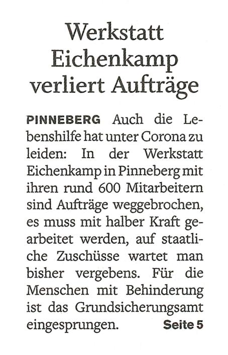 """Pinneberger Tageblatt vom 12.1.2021: """"Werkstatt Eichenkamp verliert Aufträge"""""""