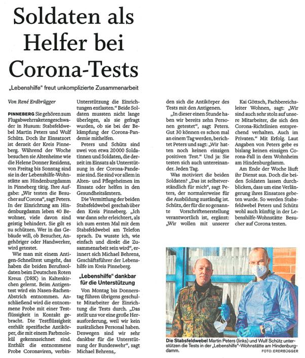 Pinneberger Tageblatt vom 18.02.2021: Soldaten als Helfer bei Corona-Tests