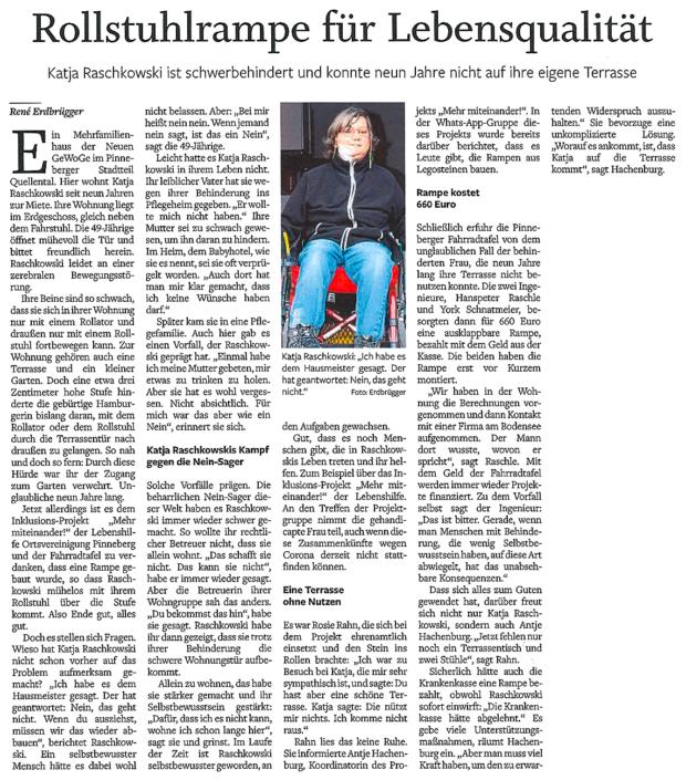 Pinneberger Tageblatt vom 08.03.2021: Rollstuhlrampe für Lebensqualität, Katja Raschkowski kommt wieder auf ihre eigene Terrasse